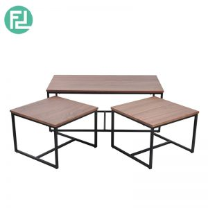 Daisy II coffee table set of 3 with metal legs-walnut veneer