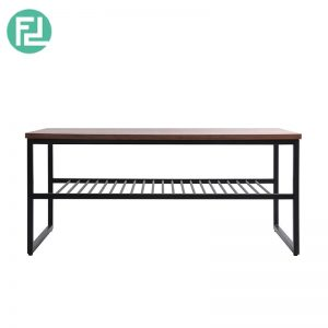 Daisy shelf coffee table with metal legs-walnut veneer