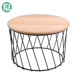 Kossi II round coffee table with metal wire base-oak veneer