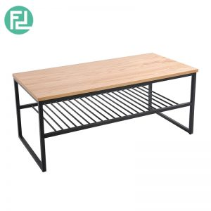 Daisy shelf coffee table with metal legs-oak veneer