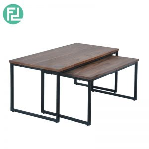 Daisy coffee table with metal legs-walnut veneer