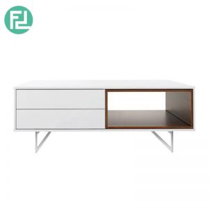 ELATTE coffee table with stainless steel legs-walnut veneer