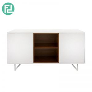 ELATTE sideboard with stainless steel legs-walnut veneer