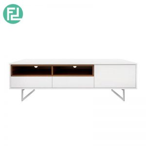 ELATTE tv stand with stainless steel legs-walnut veneer