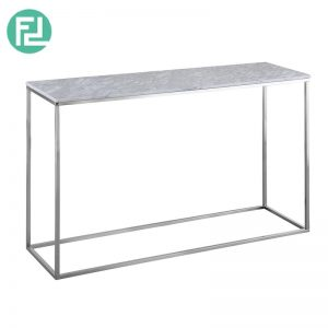 ISABELLE Italian white marble console table with metal legs-white