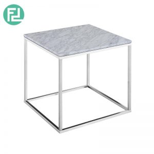 ISABELLE Italian white marble end table with metal legs-white