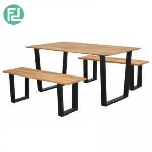 KINGSTON 150x90cm solid wood top dining set-Natural