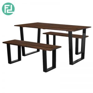 KINGSTON 150x90cm solid wood top dining set-Cappucino