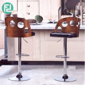 LOUISE bent wood high barstool- set of 2
