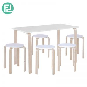 NEVY bentwood 4 seater dining set-white
