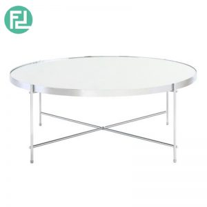 OAKLLEY mirror top coffee table with metal chrome legs-silver