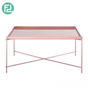 OAKLLEY mirror top coffee table with metal legs-rose gold colour