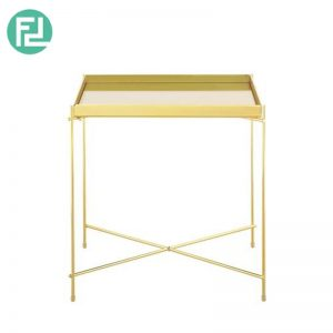 OAKLLEY square mirror top coffee table with metal legs-gold colour