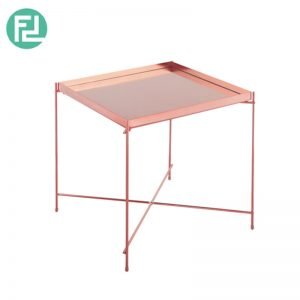 OAKLLEY square mirror top coffee table with metal legs-rose gold colour