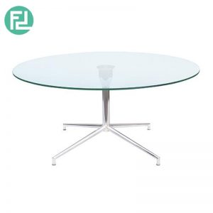 SABRINA 90cm glass top coffee table with chrome legs