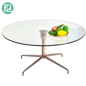SABRINA 90cm glass top coffee table with rose gold legs