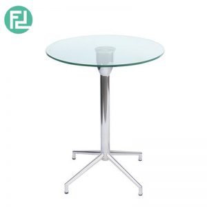 SABRINA glass top coffee table with chrome metal legs