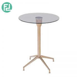 SABRINA glass top coffee table with rose gold legs