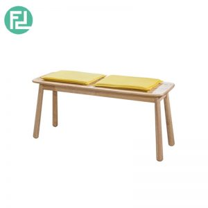BASEBALL BA-2 bench with yellow cushion-wood colour