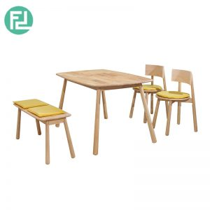 BASEBALL BA-5 dining set (1 table + 1 bench + 2 chairs)-wood colour