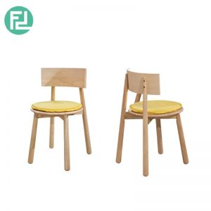 BASEBALL BA-3 dining chair with yellow cushion-wood colour