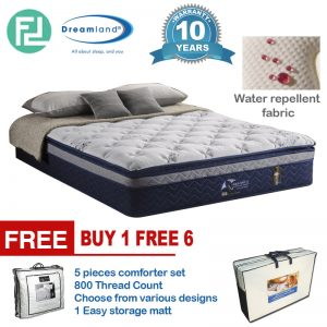"DREAMLAND liquid shield water repellent pocket spring 14"" latex mattress- King"