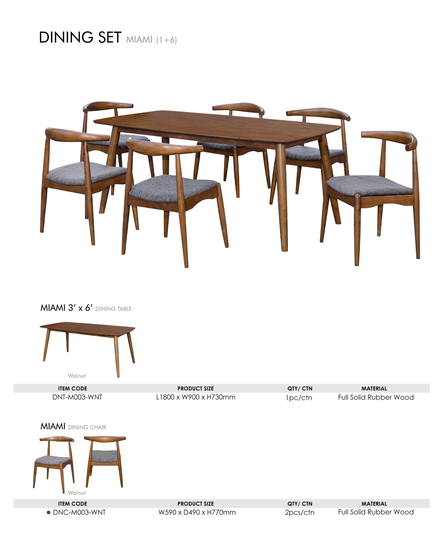 Peachy Miami Mi 2C Dining Set 1 Table 6 Seater Walnut Colour Interior Design Ideas Philsoteloinfo