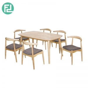 MIAMI MI-1C dining set (1 table + 6 seater)-natural wood & white colour