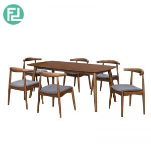 MIAMI MI-2C dining set (1 table + 6 seater)-walnut colour