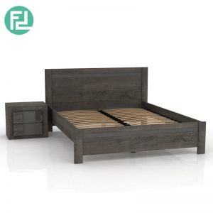 PAXTON queen size bed frame with 1 bedside table- brown