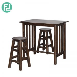 ROSE RO-1 breakfast set (1 table + 2 seater)-natural wood & cappuccino colour