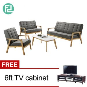 SOMERSET Solid Wood Sofa Set with free 6ft TV cabinet