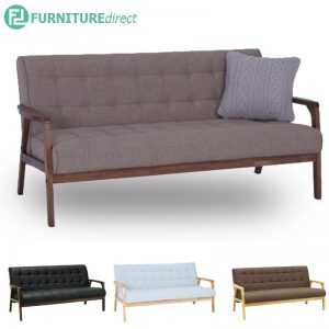 TASCO 3 seater wooden fabric sofa-4 colors
