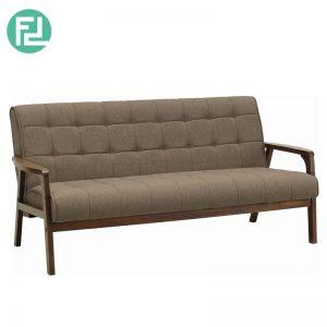 TASCO 3 seater wooden fabric sofa-brown