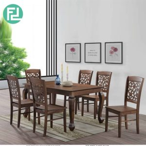 CARYS solid wood 6 seater dining set-walnut