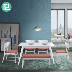 CLEMENTINE 6 seater dining set with bench-White
