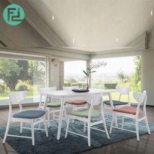 CLEMENTINE 6 seater dining set-White