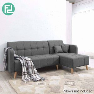 EMILY 3 seater fabric L shaped sofa-Grey