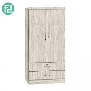 GORDON 2 door 2 drawer wardrobe with key lock-Vanilla