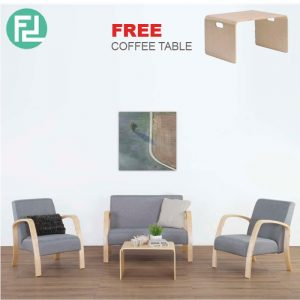KYOTO solid bent wood sofa set with free coffee table- Grey
