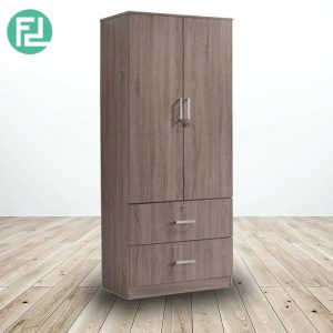 KINGSLEY 2 door 2 drawers wardrobe-walnut