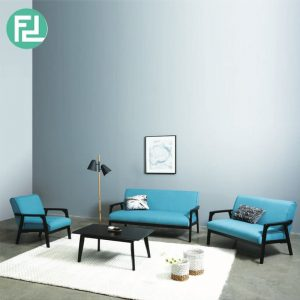 TORONTO solid wood sofa set free coffee table-Blue