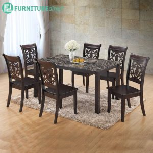 GINCHE marble dining set 6 seater set