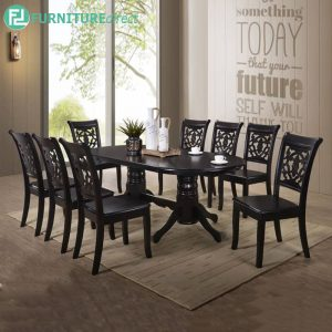 GINCHE double pedestal dining set 8 seater set