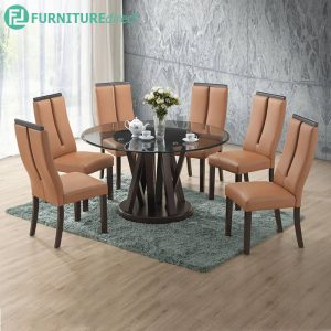 KINGSTON glass table dining set 6 seater set