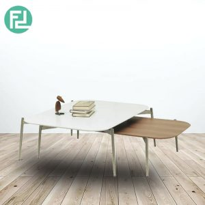 ALEC contemporary metal high & low coffee table set