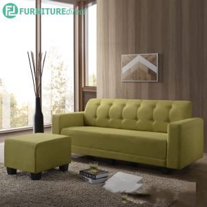 ALICE L shaped 3 seater sofa with stool-green