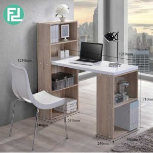 JAYDEN space saver study desk with bookcase-oak