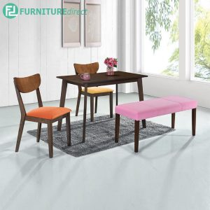VERNROCK dining set 4 seater set-walnut