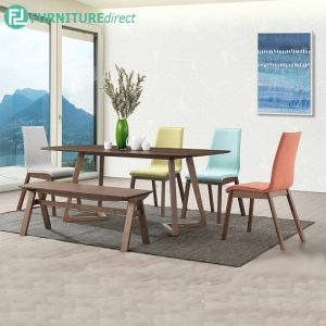 COEPHIN dining set with bench 6 seater set-walnut